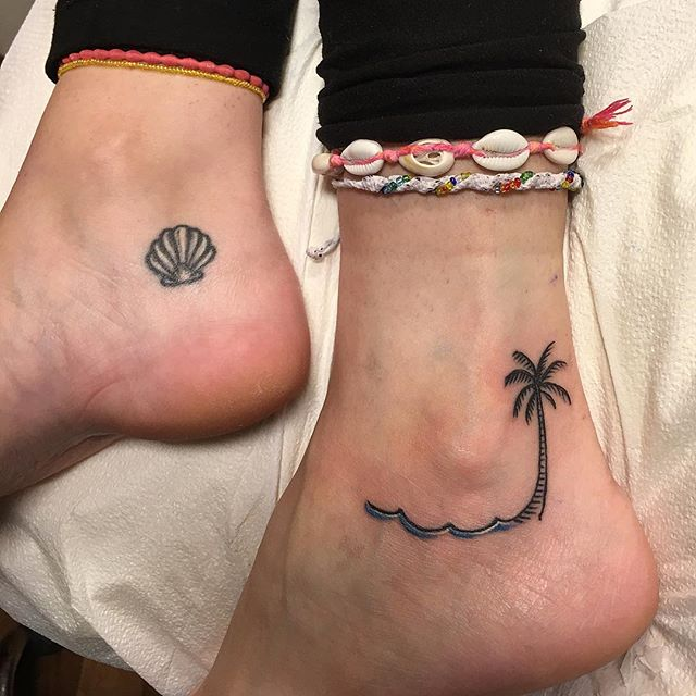 Palm from today, shell is healed a couple years #ankletattoos #tinytattoos #beachtattoo #shelltattoo #palmtreetattoo #summerlove #summertattoo #smalltattoos #allday