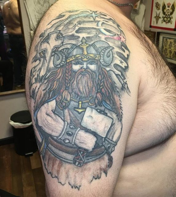 Healed one from a few years back #healedtattoo #vikingtattoo #addontattoo #armtattoo #tattoobliss