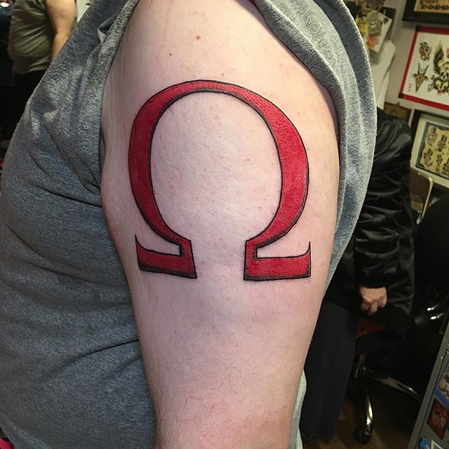 Another first timer #firsttattoo #omegatattoo #gamertattoo #redtattoo #tattoobliss