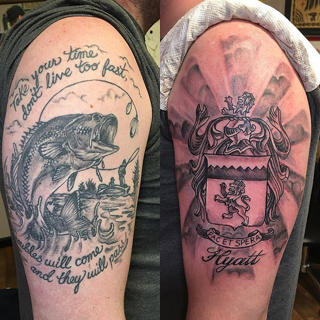 His first and second tattoos #firsttattoo #secondtattoo #freshtattoo #healedtattoo #tattoobliss #returnclients #gobigorgohome #blackandgreytattoos #familytattoo #familycrest #inmemoryofdad