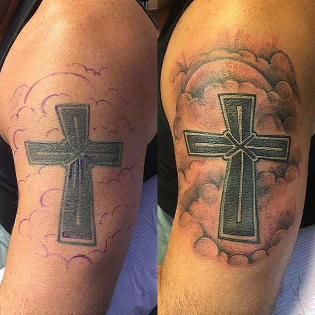 Redo and rework of a #classictattoo #crosstattoo #redotattoo #oldtattoo #newtattoo #blackandgreytattoos #tattoobliss