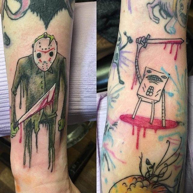 A couple more weird ones #alexpardee #jasontattoo #swordwielder #arttattoo #cooltattoos #watercolortattoo #tattoobliss