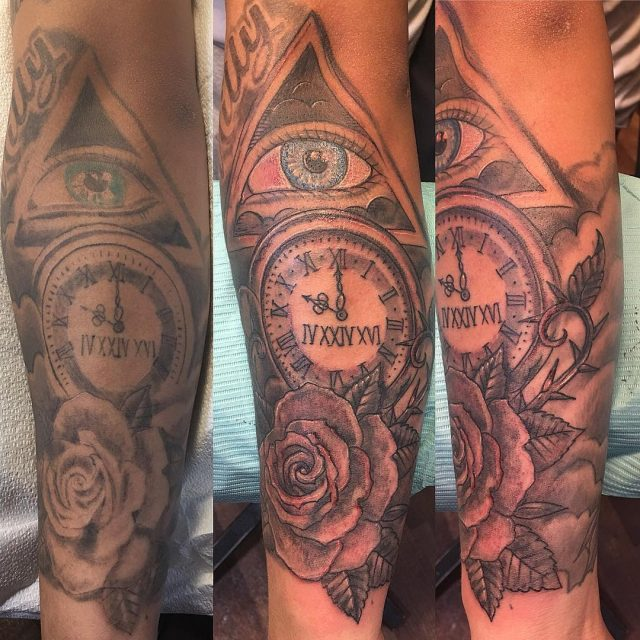 Got a good start to this redo #redotattoo #fixtattoo #forearmtattoo  #rosetattoo #memorialtattoo #firstsession #tattoobliss