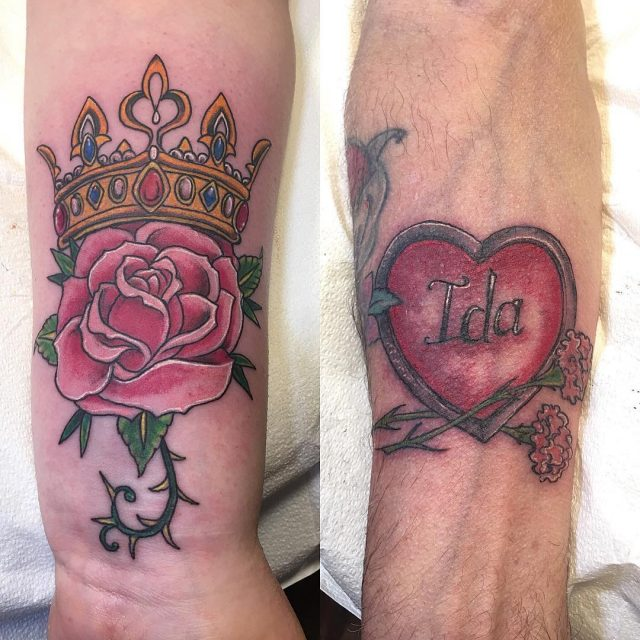 Tattooing couples every day #tattoobliss #roseandcrown #hearttattoo #colortattoos #lovetattoos