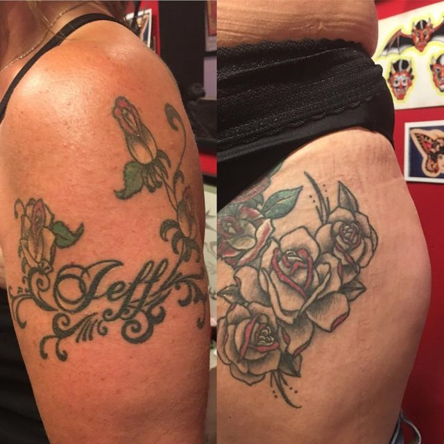A couple healed ones from a few years back, she's back for more! #returncustomers #rosetattoo #healedtattoos #tattoobliss
