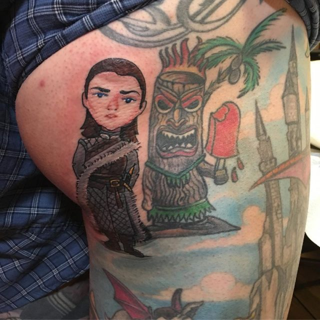 Arya is fresh , Tiki is healed #butttattoo #aryastark #gameofthronestattoo #tikitattoo #mackenziestattoo #tattoobliss