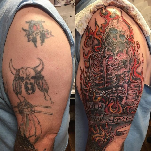 Lil Cover Up today #coveruptattoo #oldtattoos #homemadetattoos #skulltattoo #skeletonsinlove #alwaysandforever #tildeathdouspart #tattoobliss