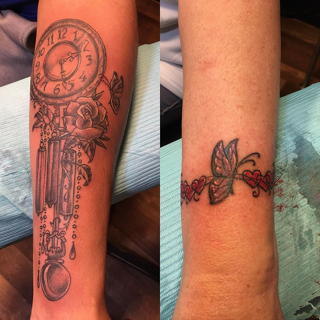 Grandson and Grandma get their first tattoos together #inlovingmemory #forgreatgrandma #butterflytattoo #firsttattoo #grandfatherclock #clocktattoo #bracelettattoo #tattoobliss