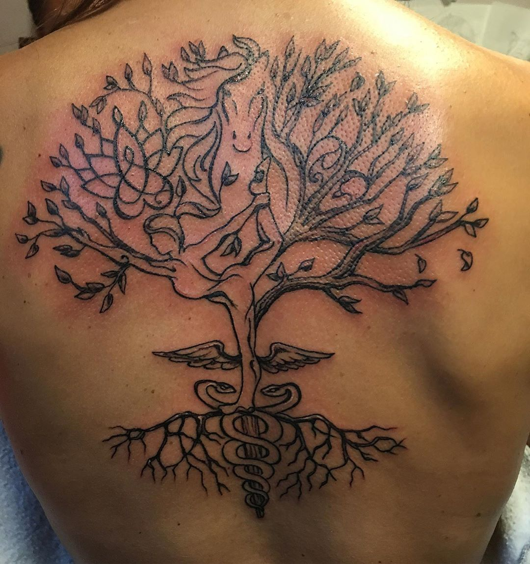 Yoga tree #yogini #nurselife #momtattoo #treetattoos #yogatattoos #horsetattoos #symbolictattoo #customtattoo #createyourown #tattoobliss #nursingtattoo #backpiece #tattooedmom