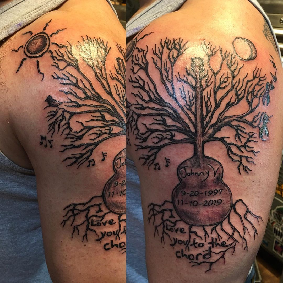 Love you to the chord, done from an original drawing by his cousin #inlovingmemory #familytreetattoo #gonetoosoon #suicideprevention #mentalhealthawareness #treetattoo #guitartree #musicislove #tattoobliss