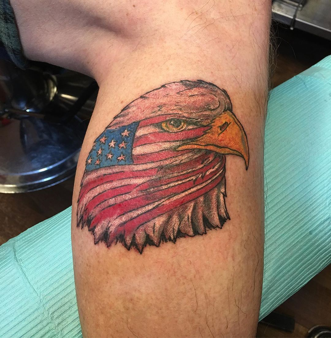 'Merica Hell Yeah #eagletattoos #americanflagtattoo #patriotictattoos #unitedforthetroops #legtattoo #freshtattoo #flagtattoo #tattoobliss
